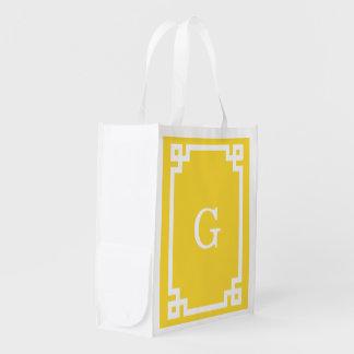Pineapple Wht Greek Key Frame #2 Initial Monogram Reusable Grocery Bag