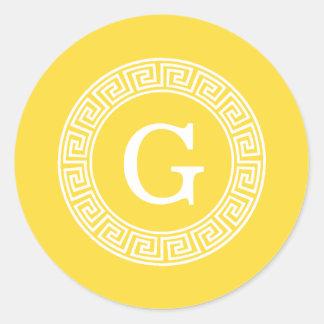 Pineapple Wht Greek Key Rnd Frame Initial Monogram Classic Round Sticker