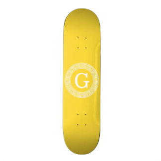 Pineapple Wht Greek Key Rnd Frame Initial Monogram Skateboard