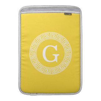 Pineapple Wht Greek Key Rnd Frame Initial Monogram Sleeve For MacBook Air