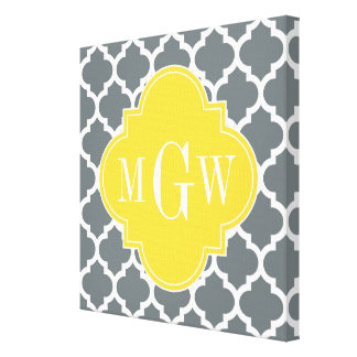 Pineapple Wht Moroccan #5 3 Initial Monogram Canvas Print