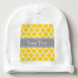 Pineapple Wht Moroccan #5 Dk Gray Name Monogram Baby Beanie