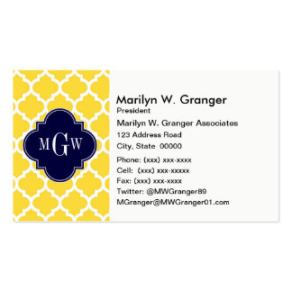 Pineapple Wht Moroccan #5 Navy 3 Initial Monogram Business Card