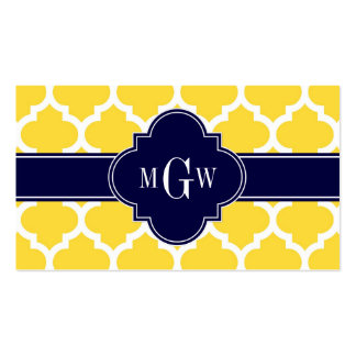 Pineapple Wht Moroccan #5 Navy 3 Initial Monogram Business Card Template
