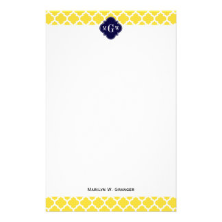 Pineapple Wht Moroccan #5 Navy 3 Initial Monogram Stationery