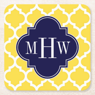 Pineapple Wht Moroccan #5 Navy 3 Initial Monogram Square Paper Coaster