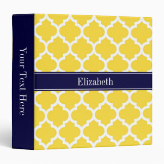 Pineapple Wht Moroccan #5 Navy Blue Name Monogram Binder