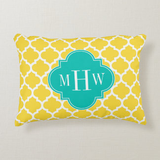 Pineapple Wht Moroccan #5 Teal 3 Initial Monogram Accent Pillow
