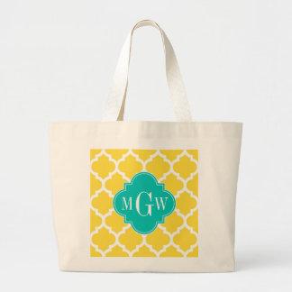 Pineapple Wht Moroccan #5 Teal 3 Initial Monogram Jumbo Tote Bag