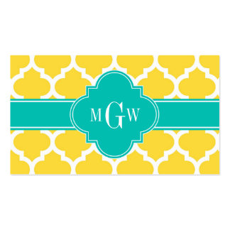 Pineapple Wht Moroccan #5 Teal 3 Initial Monogram Business Card Template