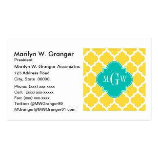 Pineapple Wht Moroccan #5 Teal 3 Initial Monogram Business Card Templates