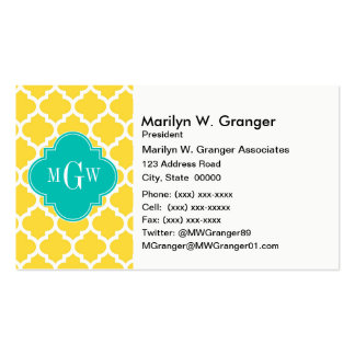 Pineapple Wht Moroccan #5 Teal 3 Initial Monogram Business Card
