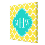 Pineapple Wht Moroccan #5 Teal 3 Initial Monogram Canvas Prints