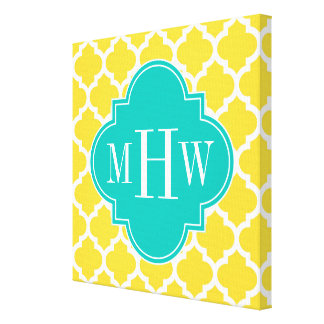Pineapple Wht Moroccan #5 Teal 3 Initial Monogram Canvas Print