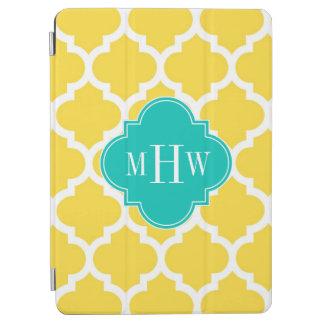 Pineapple Wht Moroccan 5 Teal 3 Initial Monogram iPad Air Cover