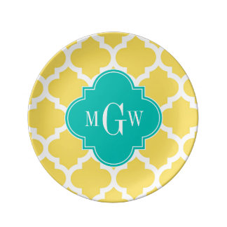 Pineapple Wht Moroccan 5 Teal 3 Initial Monogram Porcelain Plates