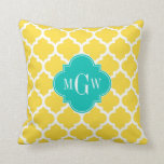 Pineapple Wht Moroccan #5 Teal 3 Initial Monogram Pillow