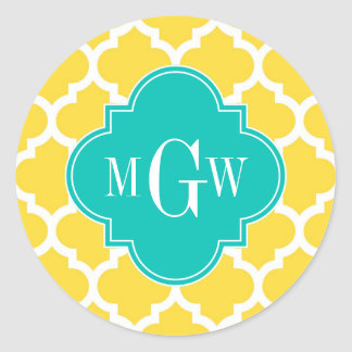 Pineapple Wht Moroccan #5 Teal 3 Initial Monogram Classic Round Sticker