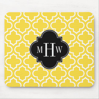 Pineapple Wht Moroccan #6 Black 3 Initial Monogram Mouse Pad