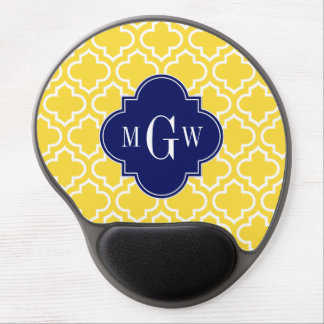 Pineapple Wht Moroccan #6 Navy 3 Initial Monogram Gel Mouse Pad