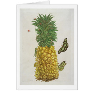 Pineapple with caterpillar and butterflies (hand-c card