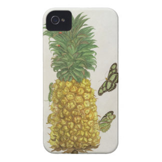 Pineapple with caterpillar and butterflies (hand-c iPhone 4 cover