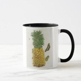 Pineapple with caterpillar and butterflies (hand-c mug