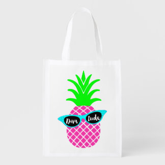 """Pineapple with """"DIVAtude"""" Reusable Grocery Bag"""