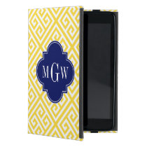Pineapple Wt Med Greek Key Diag T Navy 3I Monogram Cover For iPad Mini