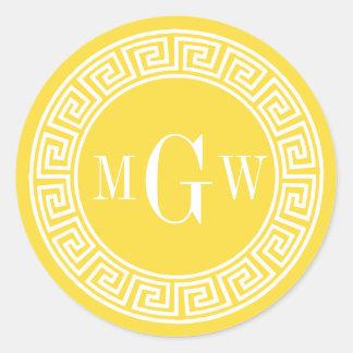 Pineapple Yellow Greek Key Monogram Envelope Seal Classic Round Sticker