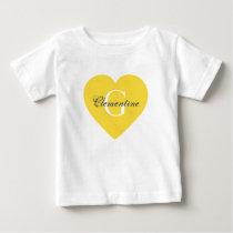 Pineapple Yellow Heart Name Initial Monogram Baby T-Shirt