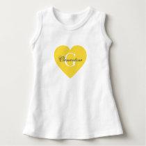 Pineapple Yellow Heart Name Initial Monogram Dress
