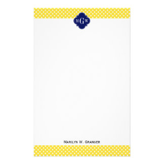 Pineapple Yellow Wht Dots Navy Blue Quatrefoil 3I Stationery