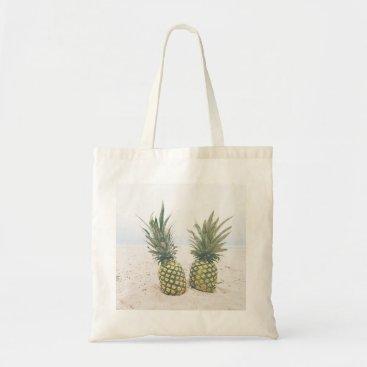 Beach Themed Pineapples and Beach Scene Tote Bag