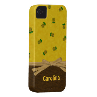 Pineapples and Bow Yellow Tropical Custom Cases iPhone 4 Case-Mate Case
