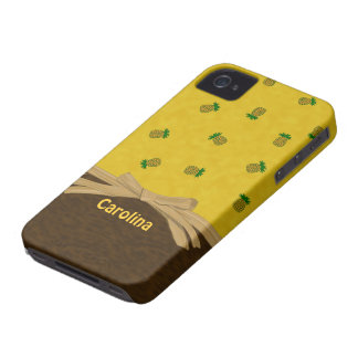 Pineapples and Bow Yellow Tropical Custom Cases iPhone 4 Covers