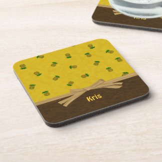 Pineapples and Bow Yellow Tropical Customizable Coaster