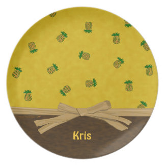 Pineapples and Bow Yellow Tropical Customizable Melamine Plate
