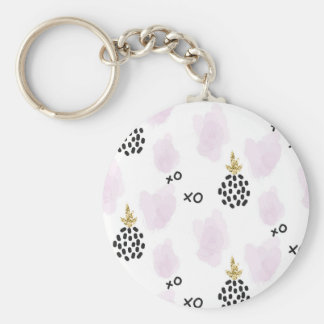 Pineapples and pink leopard print. XOXO Basic Round Button Keychain