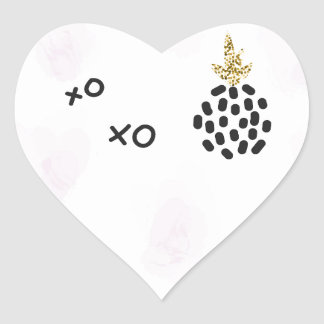 Pineapples and pink leopard print. XOXO Heart Sticker