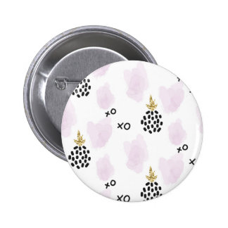 Pineapples and pink leopard print. XOXO Pinback Button