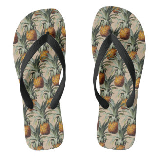 Pineapples Beach Sand Tan Background Flip Flops