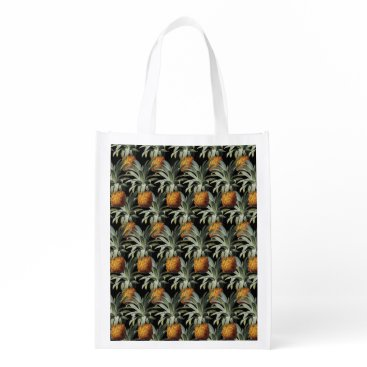 Beach Themed Pineapples Black Background Grocery Bag