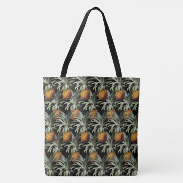 Beach Themed Pineapples Black Background Tote Bag
