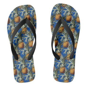 Beach Themed Pineapples Capri Blue Background Flip Flops