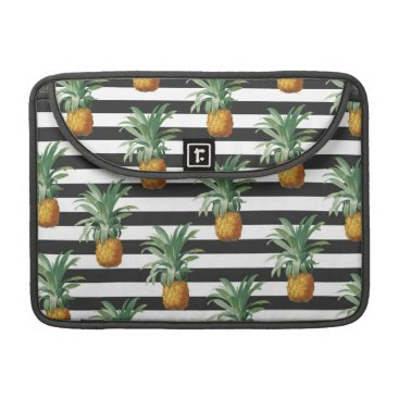 Beach Themed Pineapples Exotic Stripes Beach Grey Sleeve For MacBook Pro