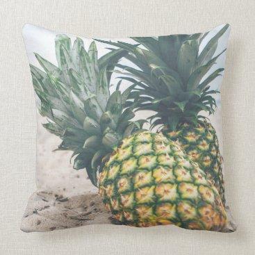 Beach Themed Pineapples Fruit Beach Sand Throw Pillow