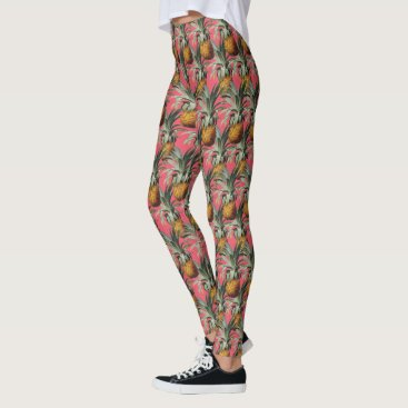 Beach Themed Pineapples Indian Pink Background Leggings