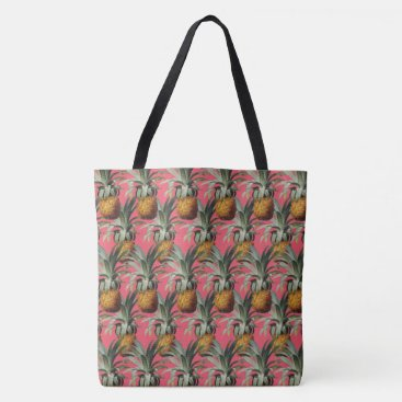 Beach Themed Pineapples Indian Pink Background Tote Bag