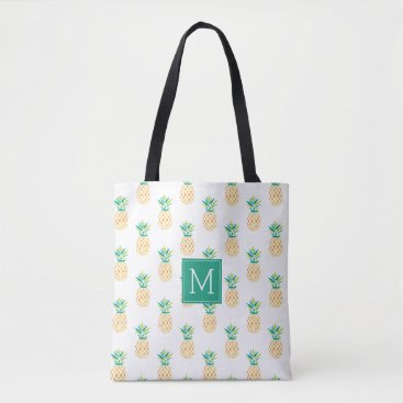 Beach Themed Pineapples Monogrammed Tote Bag